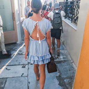Pom Pom peixto ruffle dress